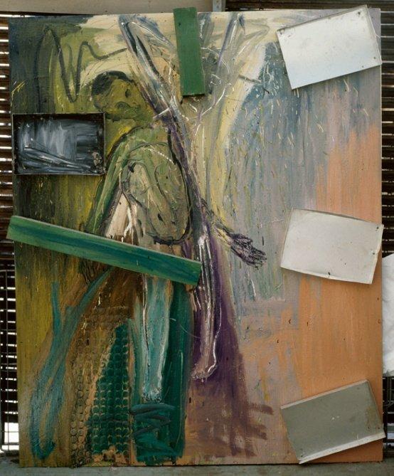 Erik A. Frandsen: Portræt af Thomas Boberg, olie, aluminiumsbakker og træ på lærred, 200 x 162 cm, 1987. Foto: Erik A. Frandsen