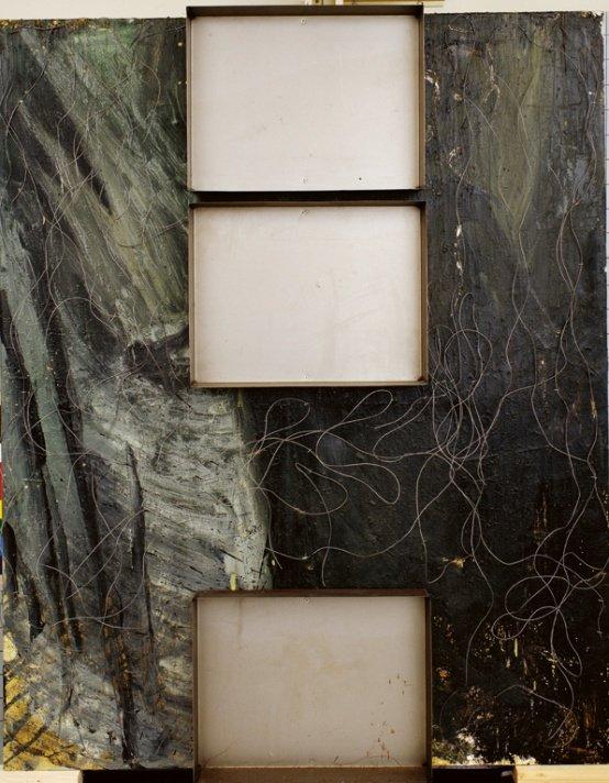 Erik A. Frandsen: Tray Picture, olie, bakker og ståltråd på lærred, 150 x 120 cm, 1990. Foto: Erik A. Frandsen