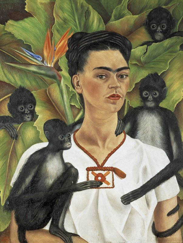 Frida Kahlo, Selvportræt med aber, 1943. (The Jacques and Natasha Gelman Collection of Mexican Art. Courtesy the Vergel Foundation and the Tarpon Trust © 2013 )