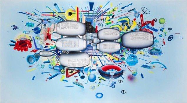 Trine Boesen: Jord, luft, ild og vand. 210x 350 cm. Aryl og blyant på lærred, 2013. Foto: Peter Misfelt