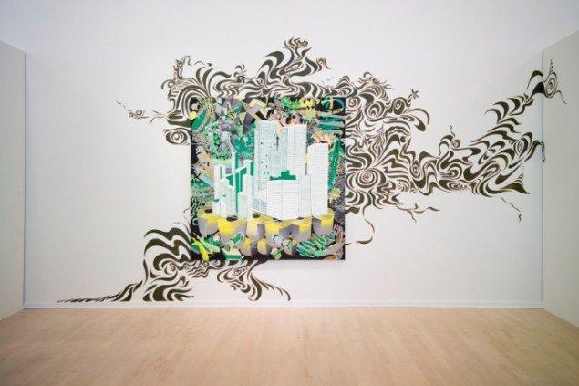 Trine Boesen: Everybody Everywhere. Acryl på lærred og maleri på væg. 160x160cm. Fra udstillingen  Maleri uden grænser, Esbjerg Kunstmuseum, 2006. Foto: Peter Misfelt