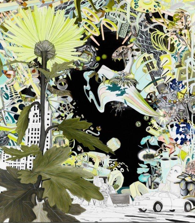 Trine Boesen: Mind read me. Acryl og blyant på lærred. 215X190 cm, 2007. Foto: Peter Misfelt