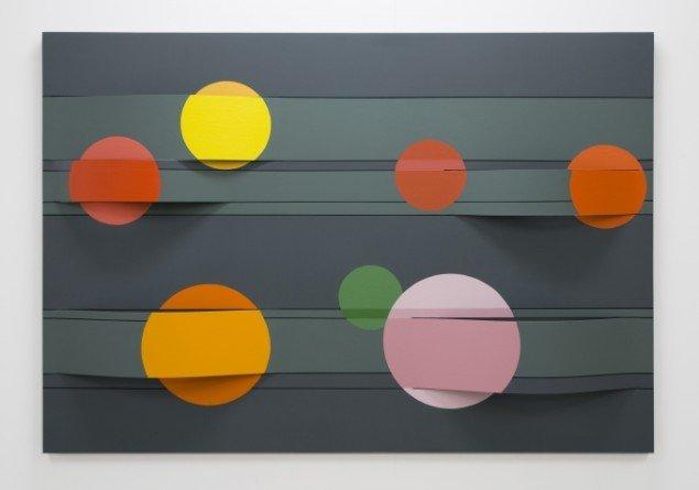 Seven circles (for E.M. Pade), Akryl på bukket MDF 122x177cm. 2009 foto: Troels Aagaard