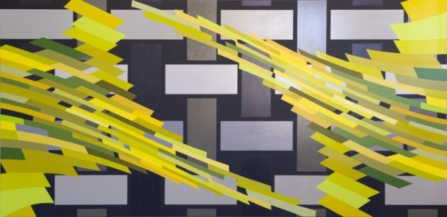 Double Structure. Sometimes repeated # 3, (for Cecil Payne), Akryl på lærred 155x320cm. 2013. Foto: Troels Aagaard