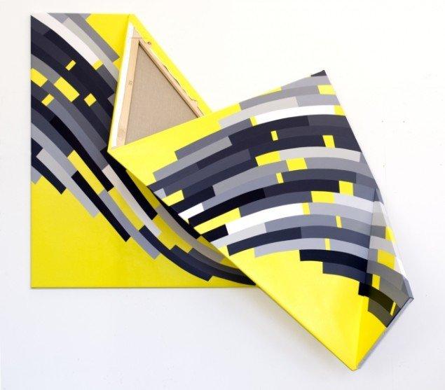 Double Structure. Sometimes repeated # 5, Akryl på lærred og modificeret blændramme 155x320cm. 2013. Foto: Troels Aagaard