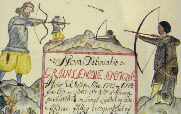 Arktis har reserveret et meget lille hjørne af udstillingen til det arktiske folk. Denne illustration er fra et af de tidlige kort over Arktis. (Foto: kunsten.nu / MHB)
