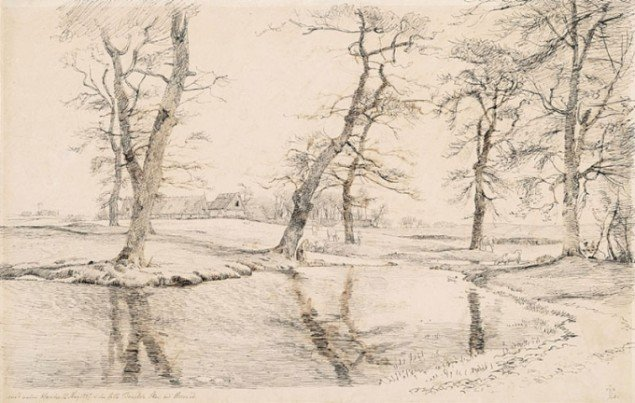 """Johan Thomas Lundbye: """"Med valne Hænder"""" (1844). Pen og tusch på papir. Købt af The Metropolitan Museum of Art i september 2013."""