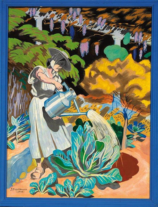 """J. F. Willumsen: """"Michelle Bourret vander kaal og grøntsager"""" (1943). Olie på lærred. Købt af J.F. Willumsens Museum i september 2013."""