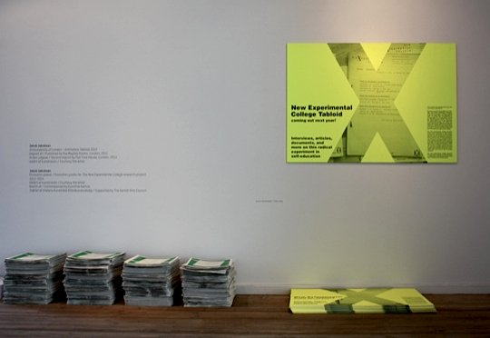 Jakob Jakobsen: Antiuniversity of London – Antihistory Tabloid (2012) + The New Experimental College research project, 2013. Foto: Trine Rytter Andersen