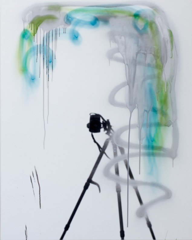 53 , spray paint on mirror foil, 100 X 80 cm, 2011. Foto: Anders Sune Berg