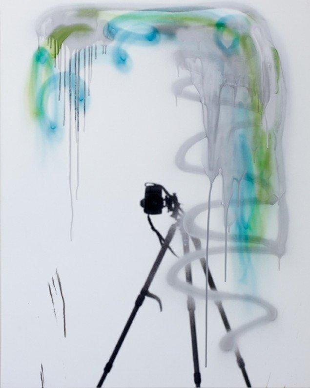 53 , spray paint on mirror foil, 100 X 80 cm, 2011. Foto: Anders Sune Berg