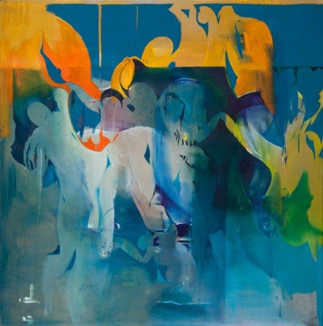 Cathrine Raben Davidsen: Acrobatics, 2013. Oliemaleri, 240 x 240 cm. Pressefoto