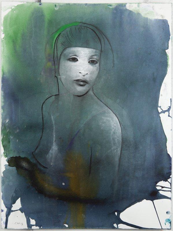 Cathrine Raben Davidsen: Dancer, 2013. Kul, pastel og blæk på papir, 61 x 46 cm. Pressefoto