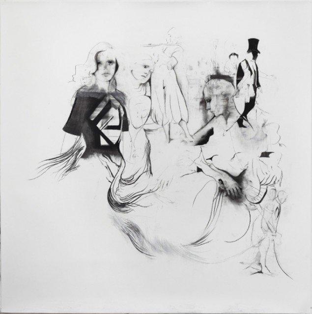 Cathrine Raben Davidsen: Foolish, 2013. Kul på papir, 220 x 220 cm. Pressefoto