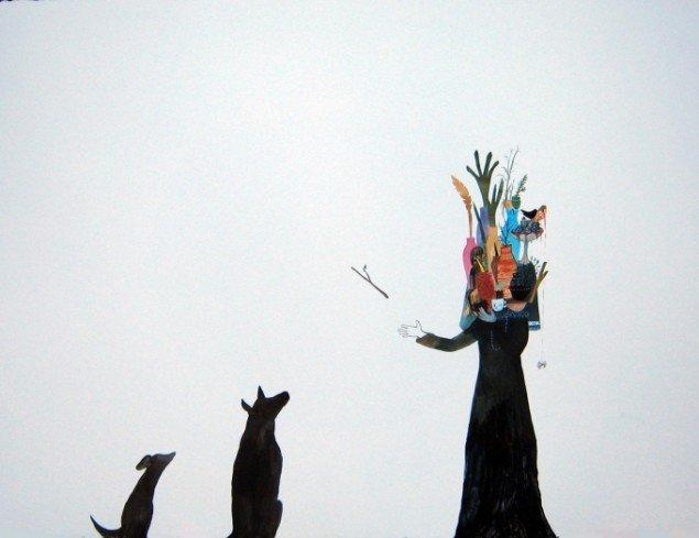 12. Stephanie Donsø  Da hun indså hvad hun var ved at blive til kastede hun en pind  56 x76 cm. 2013.   Tusch, akvarel, Indian Ink, akrylmaling, blyant på papir. Foto: Stephanie Donsø.