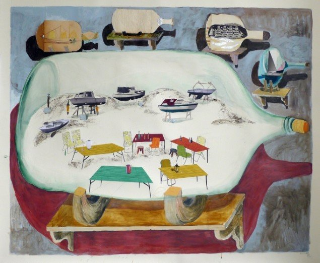 Mette Vangsgaard Samling af flaskeskibe , 126 x 150 cm, 2013. Folie, sølvpapir, pap, akvarel,   akrylmaling, fotokopi, tapet, lim på akvarelpapir. Foto: Mette Vangsgaard.