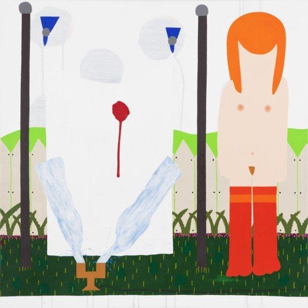 Kristian Devantier Alisons mødom og en havevandrer 2011, maleri. Foto: Chrisotffer Askman