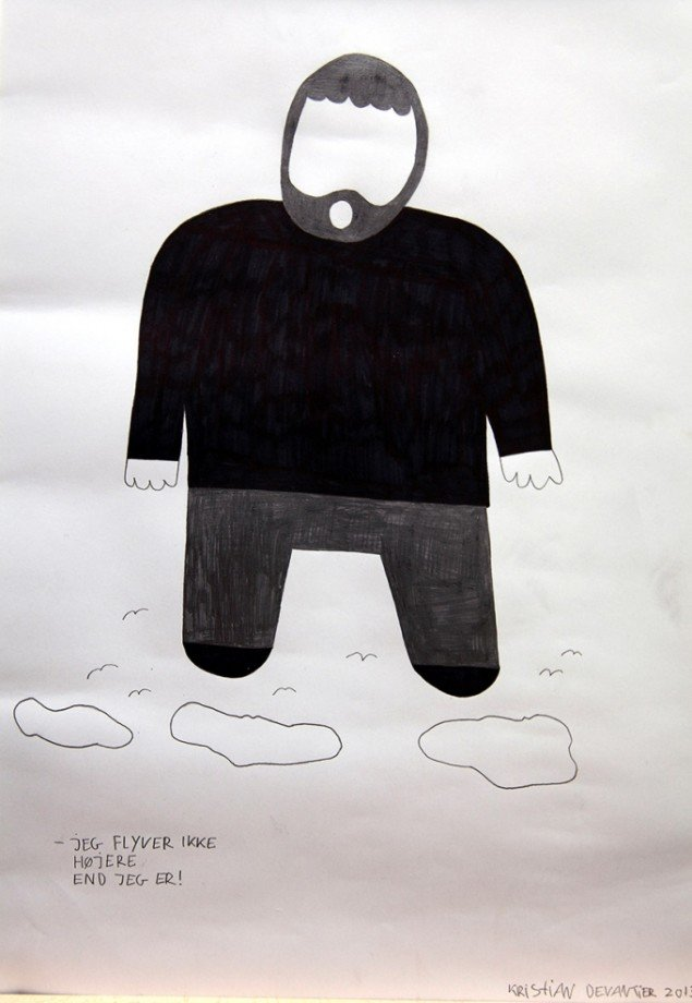 Kristian Devantier  Jeg flyver ikke højere end jeg er  2013 tegning. Foto: Adam Rieper