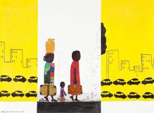 Kristian Devantier Rejsende indvandrere 2009, tegning. Foto: Christoffer Askman