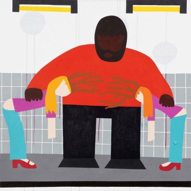 Kristian Devantier To piger om en mand 2011, maleri. Foto: Christoffer Askman