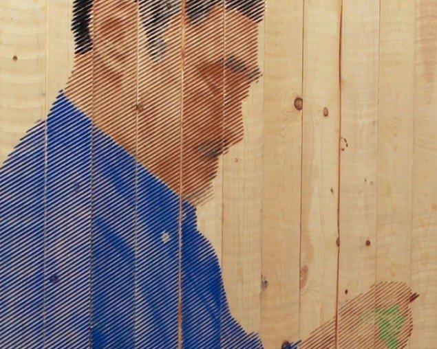 Søren Assenholt Håndens refugium: Sælfanger og kunstner Mathias Løvstrøm, Sundholm Herberg 2013. 322x222 cm (udsnit) . Foto: Søren Assenholt