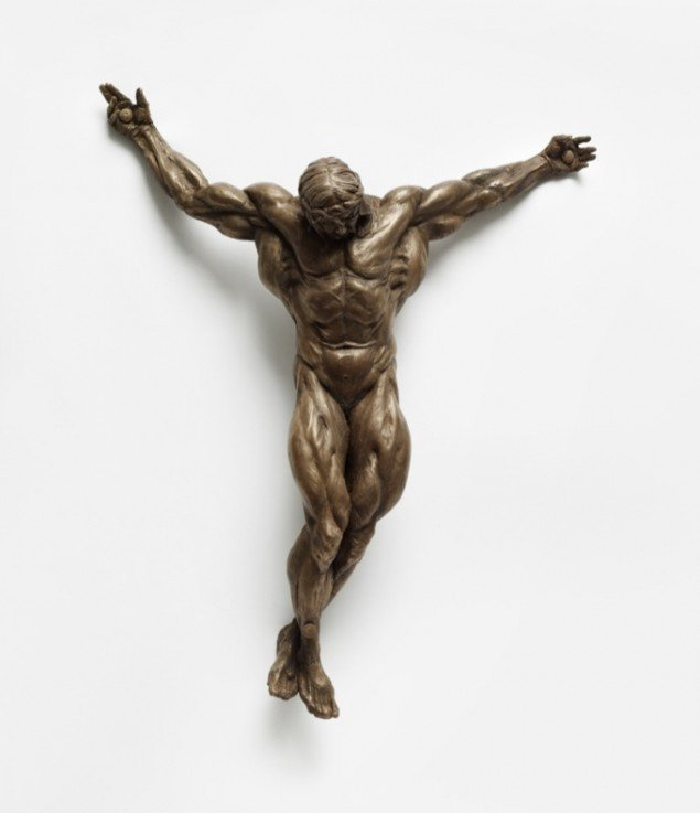 Christian Lemmerz  Bodybuilder Jesus Christ (American Version), bronze, 34x26x9,5 cm, 2013. Foto: Horsens Kunstmuseum
