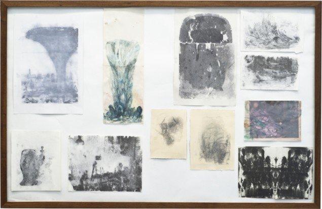 Emil Westman Hertz Collage, 2012. Akvarel og tryk på papir 107x165 cm. Foto: Galleri Susanne Ottesen