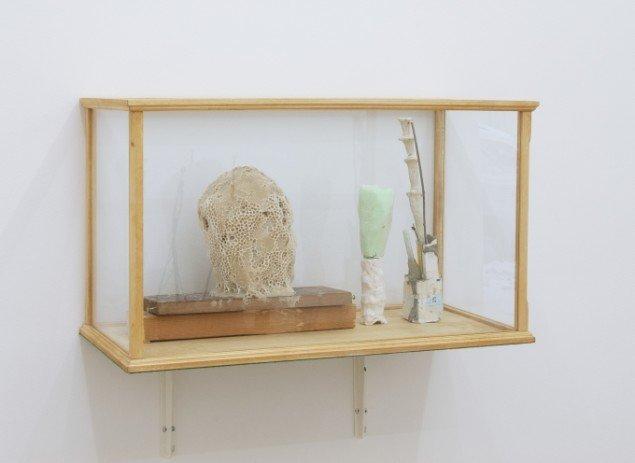 Emil Westman Hertz Face of Another, 2013. Bivoks, træ, gips, polystyrenskum, pilleæsker, grene, 30x70x30 cm. Foto: AnneElle Gallery