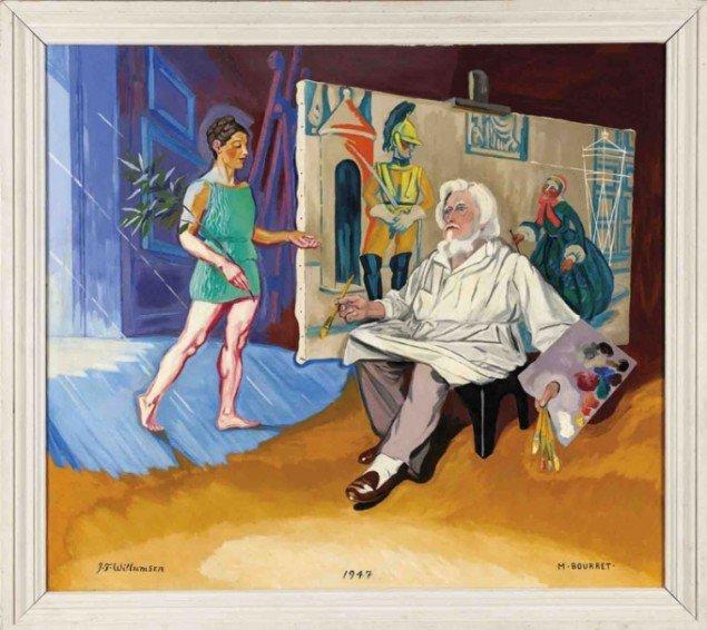 J.F. Willumsen: Maleren og hans muse, 1947. (Pressefoto)