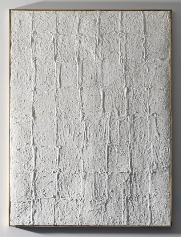 Piero Manzoni: Achrome. Kaolin på kvadreret lærred. Foto Gunnar Merrild