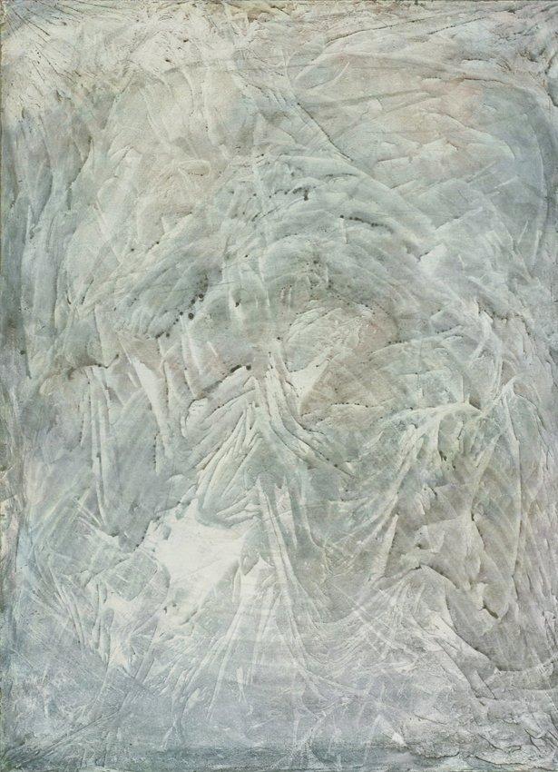 Silas Inoue: Ind i Bjerget, 2013. Akryl på MDF, 78 x 58 cm. På Wellness, Marie Kirkegaard Gallery 2013. Pressefoto