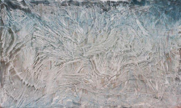 Silas Inoue: LCD, 2013. Akryl og akvarel på MDF, 93 x 152 cm. På Wellness, Marie Kirkegaard Gallery 2013. Pressefoto