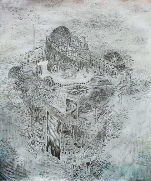 Silas Inoue: Psykologisk Wildstyle, 2013. Akvarel og blyant på papir, 78 x 66 cm. På Wellness, Marie Kirkegaard Gallery 2013. Pressefoto