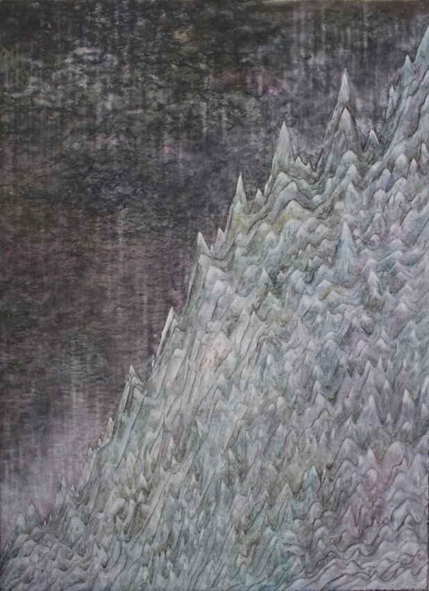 Silas Inoue: Vækst, 2013. Akryl, blæk og akvarel på MDF, 108 x 79 cm. På Wellness, Marie Kirkegaard Gallery 2013. Pressefoto