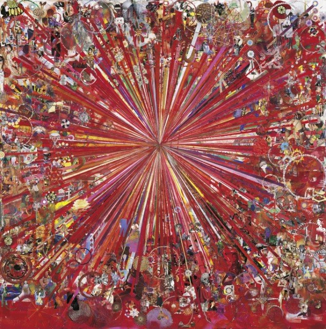 Tal R: Adieu Interessant (red), 2005-08. Collage, 250 x 251 cm., THE EKARD COLLECTION. Pressefoto