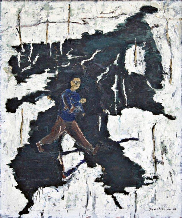 Jesper Christiansen På vej til psykolog 1985. Olie på lærred, 160x130 cm. Foto: Maronica Lauridsen