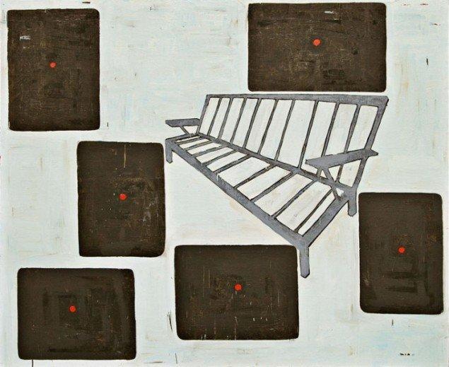 Jesper Christiansen Sofamaleri 1988. Olie på lærred, 180x150 cm. Galerie Michael Andersen. Foto: Maronica Lauridsen
