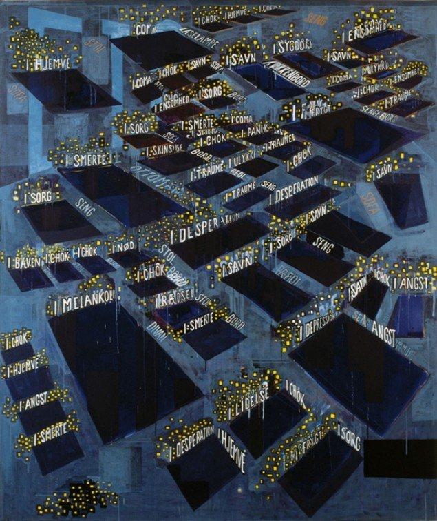 Jesper Christiansen Bankmaleri 1993. Akryl på lærred, 238x200 cm. Aros. Foto: Maroinca Lauridsen
