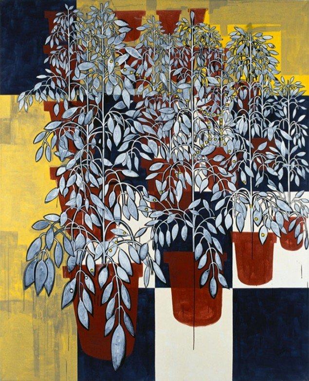 Jesper Christiansen Background Painting #1. 1996. Akryl og gesso på lærred, 210x170 cm. Nordea.