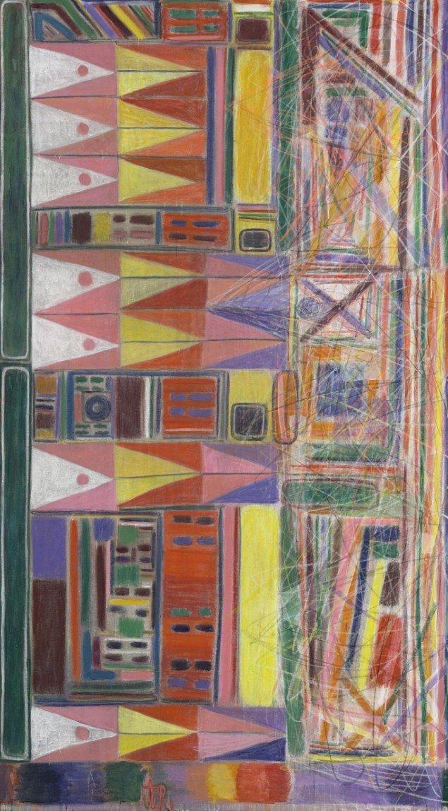 Tal R, Andy, 2012, Kaninskindslim, pigment og oliekridt på lærred, 312 cm x 172 cm, Ny Carlsbergfondet