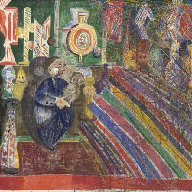 Tal R, Elefantastic, 2009, Kaninskindslim, pigment og oliekridt på lærred 280 x 280 cm. Courtesy Holstebro Kunstmuseum