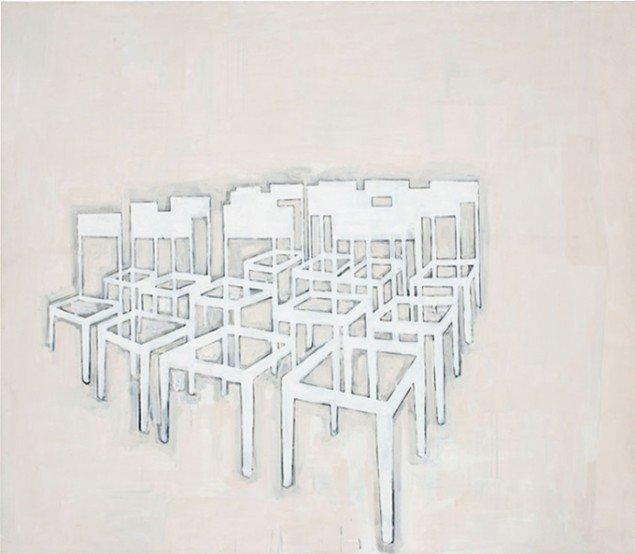 Jesper Christiansen Stolemaleri uden titel 1989. Akryl og gesso på bomuld, 275x205 cm.Statens Museum for Kunst. Foto: Maronica Lauridsen