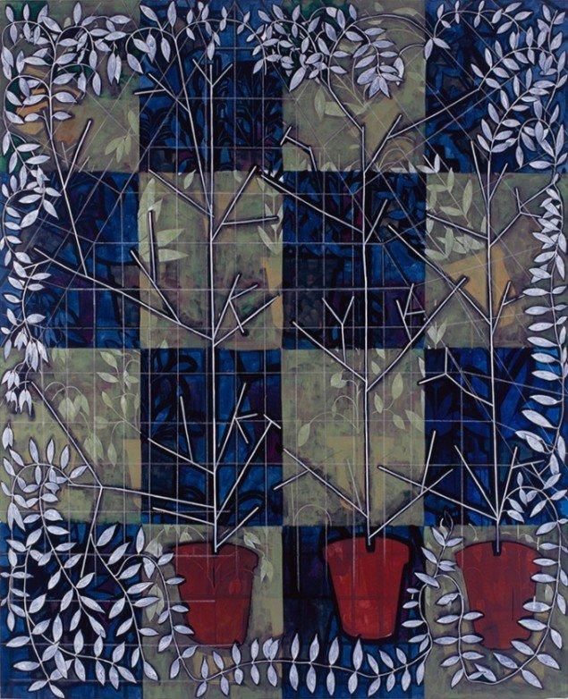 Jesper Christiansen Pergola Painting 1997. Akryl og gesso på lærred, 210x170 cm. Nordea.