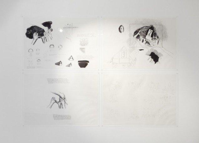 Udstillingsview fra Amel Ibrahimovićs udstilling Coffins 2008 på Rønnebæksholm 2013. Foto: Léa Nielsen