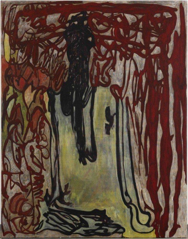 Peter Linde Busk: There! Now that's how you scrub a fuckin' Bloodstain, 2013. Akryl og oliekridt på lærred, 185 x 145 x 4 cm. På The Carollers of Kölbigk, Galleri Bo Bjerggaard 2013-14. Pressefoto