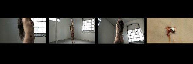 Katja Bjørn: Video stills fra Sov min elskede 2012. Videoinstallation, varighed 20 min., 4 vægprojektioner, seng, sengelinned.