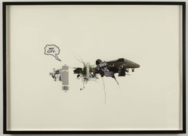Jakob Kolding My City 2009. Collage og tegning på papir 70x100 cm. Courtesy Team Gallery