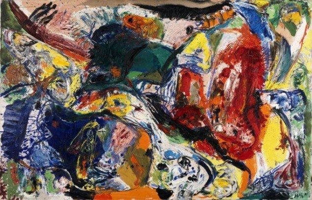 Asger Jorn: Dead Drunk Danes¸1960, Olie på lærred. (Louisiana Museum of Modern Art).