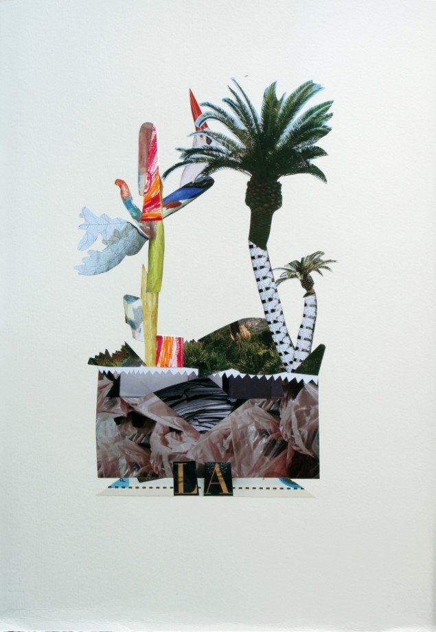 Anne Sofie Meldgaard: L.A. 2013. Collage på papir, 50x35 cm. Foto: Jens Thegler