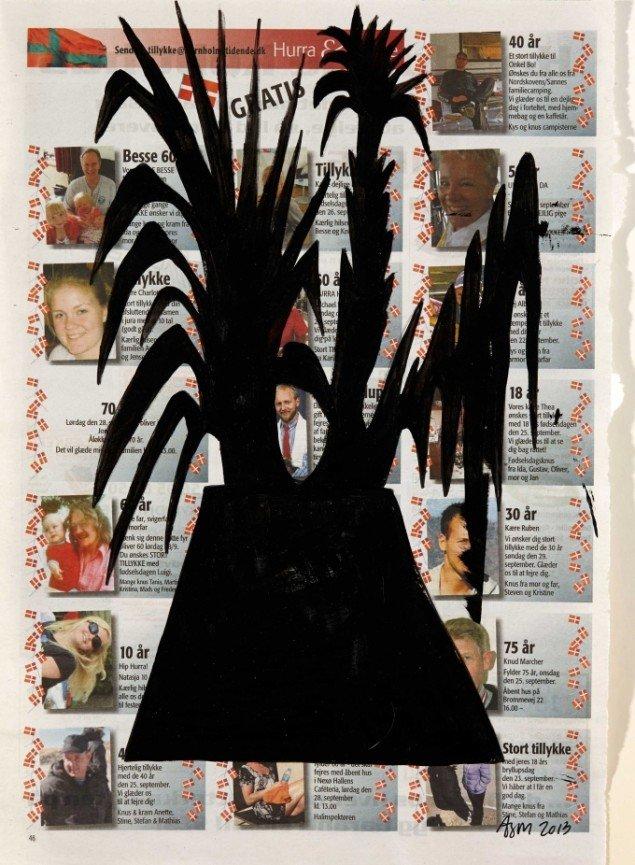 Anne Sofie Meldgaard: Untitled 2013. Lakfarve på avispapir, 39,5x28 cm. Foto: Simon Lautrop